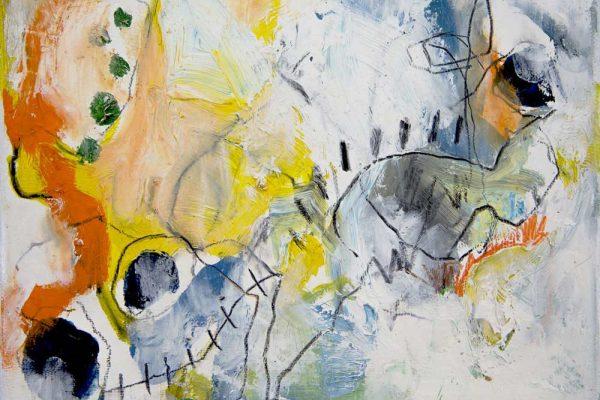 MIDNIGHT SUN, oil and polychromos pigments on birch panel , 17 x 23.5cm
