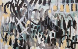 LANGUAGE UNINVITING, oil and polychromos pigments on canvas, 107 x 180cm, 2015
